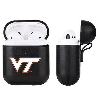 Virginia Tech Hokies NCAA Fan Brander Zwart Lederen AirPod Case