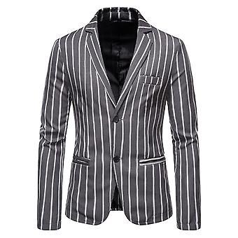 Allthemen Men's Moda Casual Dos Hebilla Espalda Split Rayado Blazer