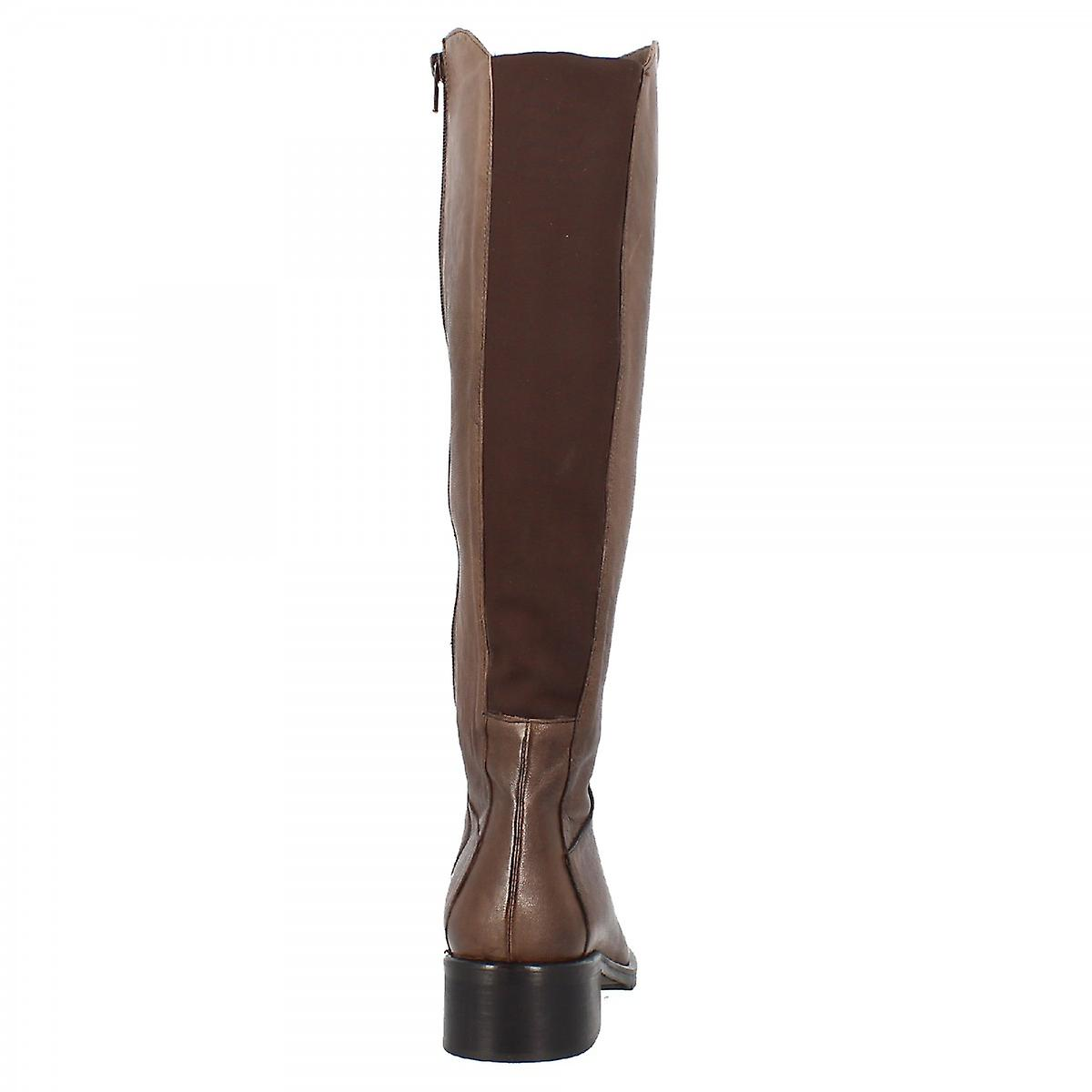 Leonardo Shoes Women's handmade knee kigh boots with squared heel in dark brown calf leather