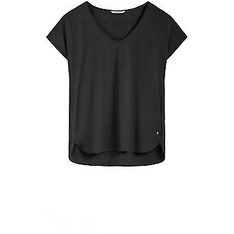 Sandwich Clothing Black Silky Front Top