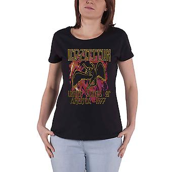 Led Zeppelin T Shirt Black Flames Band Logo new Official Womens Skinny Fit Black
