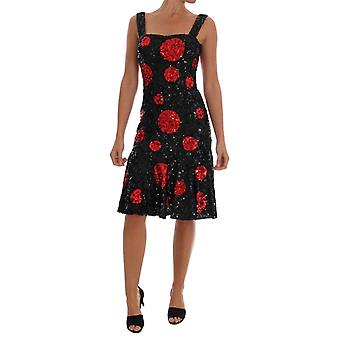 Dolce & Gabbana Black Red Polka Sequined Shift Dress DR1223-1
