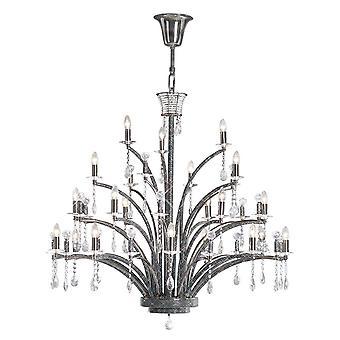 Plafond hanger kroonluchter 21 licht zwart chroom, kristal (item vereist montage)