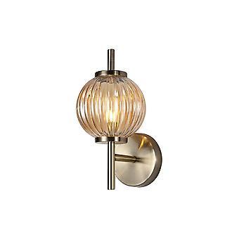 Luminosa Beleuchtung - Wandleuchte, 1 x G9, antike Messing, Bernsteinglas