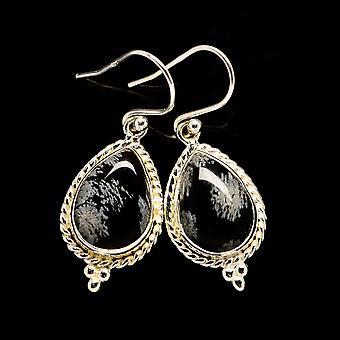 """Snowflake Obsidian Earrings 1 3/8"""" (925 Sterling Silver)  - Handmade Boho Vintage Jewelry EARR405869"""