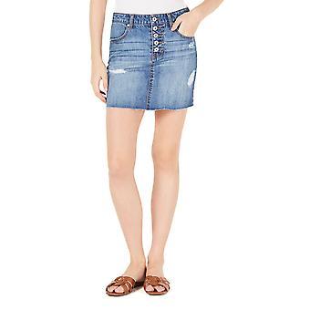 Vanilla Star | Juniors' Cotton Button-Fly Denim Mini Skirt