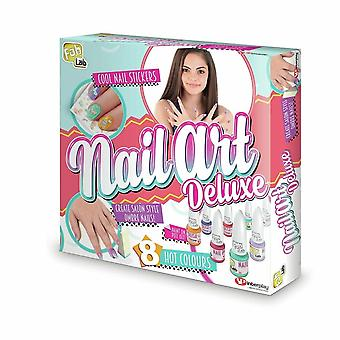 Fablab nail art deluxe with 8 trendy colours of nail varnish, for age 8 year and