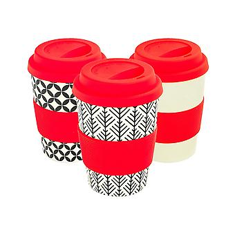 Reusable Coffee Cups - Bamboo Fibre Travel Mugs with Silicone Lid, Sleeve - 350ml (12oz) - 3 Patterns - Red - x6