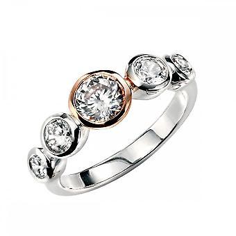 Элементы Серебряные элементы Розовое золото Покрытие Multi CZ Кольцо R3321C