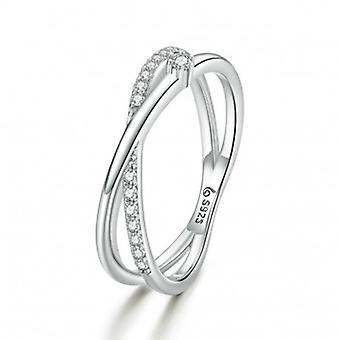 Sterling Silber Ring Verweben Linien - 6859