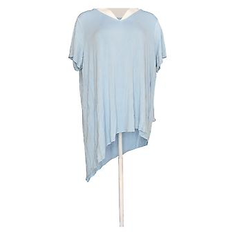 Lisa Rinna Collection Women's Plus Top Chiffon Overlay Short Sleeve Blue