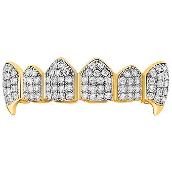 One size fits all top Grillz - VAMPIRE cubic ZIRCONIA gold silver