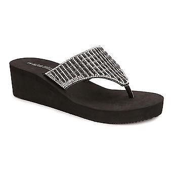 Olivia Miller 'Miramar' Multi Rhinestone EVA Wedge Sandals
