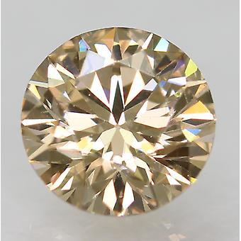 Cert 0.53 Karaat Yel Brown VVS2 Ronde Brilliant Enhanced Natural Diamond 5.24mm
