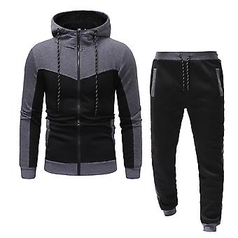 Classic Color Matching Design Men's Casual Sportswear Fashion Hooded Sweater Suit met lange mouwen