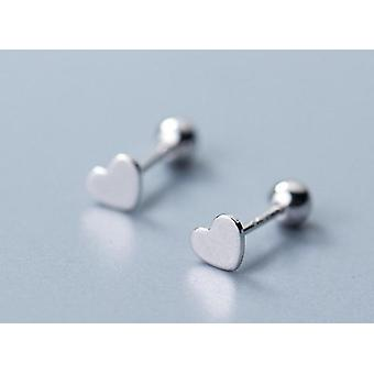 Hollow Heart Screw 925 Sterling Silver Stud Gold Silver Earrings