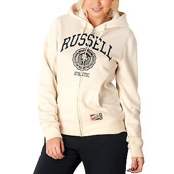 Russell Athletic Womens Zip Through Retro Hoody Jacket Sweatshirt Hoodie - Chalk