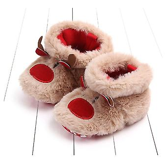 Baby/boy Christmas, Cartoon Deer Warm Plush Crib Shoes