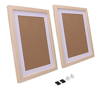 2pcs Picture Frames 11x14 Inch with Mat for Tabletop Display Wood Color