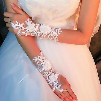 Biela krátka strana Rukavice Fingerless Elegantné Perly Večerné Svadobné Svadba