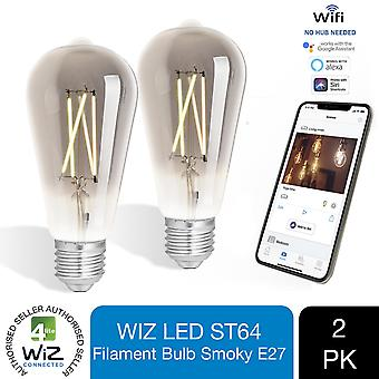 WiZ LED ST64 Smart Filament Bulb Smoky ES(E27) Tuneable White & Dimmable, 3 Pack