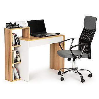 Kombinace stolních stolů - bílá s hnědou - 4 police - 110x40x91 cm