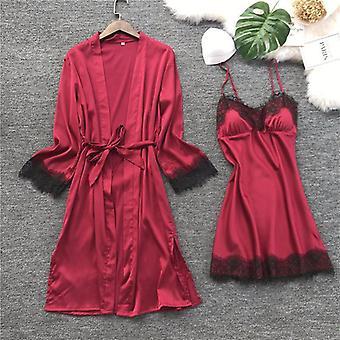 Women Silk Robe Gown Set Summer Sexy Lace Sleepwear Dress Elegant Pajamas