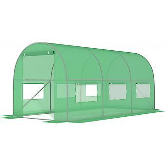 GROENE folietunnel met ramen - 9 m2 = 450 * 200 * 200