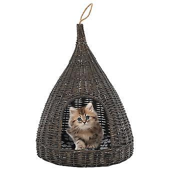 منزل القط مع وسادة رمادية 40 × 60 سم الصفصاف الطبيعية tepee