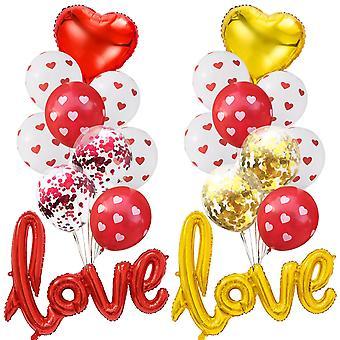 1 Set Red Love Heart Transparen Confetti Balloons Wedding Decoration Air Helium Balloon Valentines Birthday Party Decor Balls