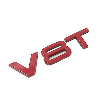 Gloss Red V8T Metal Side Wing Badge