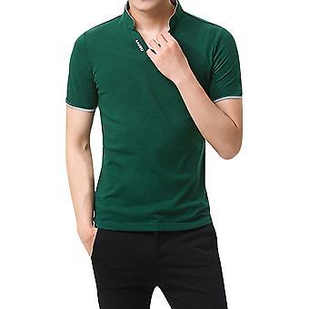 YANGFAN Men's Solid Color Short Sleeve Polo T-shirt