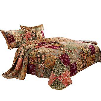Kamet 3 piezas tela king tamaño quilt set con estampados florales, multicolor