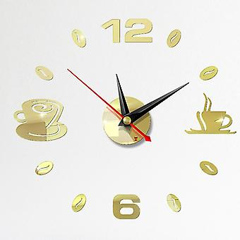 Self Adhesive Kitchen 3d Analog, Home, Waterproof Wall Clock, Art, Diy Mute