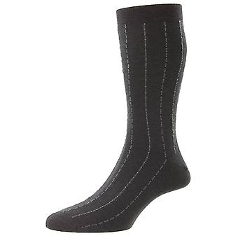 Pantherella Pelham Cotton Fil D'Ecosse Pinstripe Socks - Dark Grey Mix