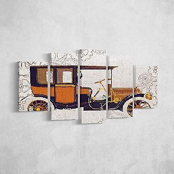 Mehrfarbiges Maschinenpanel aus Polyester, Holz, L20xP3xA40 cm (2 Stück), L20xP3xA50 cm (2 Stück), L20xP3xA60 cm (1 Stück)