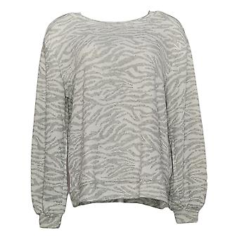 Ellen Tracy Women's Jacquard Crewneck Pullover Slight Bubble Sleeve White