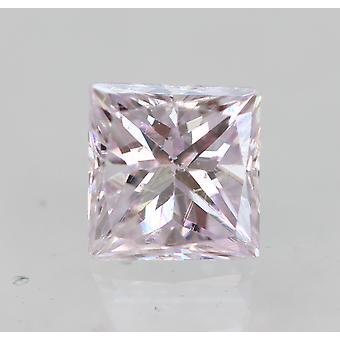 Cert 0.23 Karat Vaaleanpunainen VVS2 Princess Enhanced Natural Diamond 3.47x3.27m 2VG