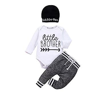 Langarm Strampler Hose Hüte Outfit 3pcs Baby warme Kleidung