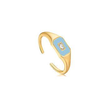 אניה היי אבקת כחול אמייל סמל זהב מתכוונן טבעת R028-01G-B