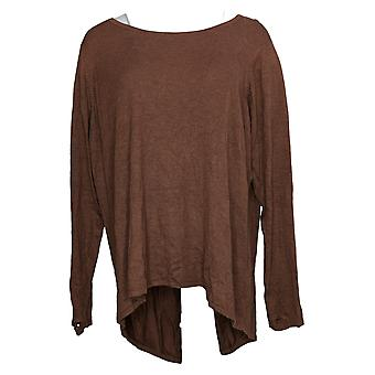 Zuda Women's Sweater Plus Ecovero With Crossover Back Detail Brown A388461