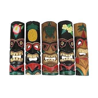 Set of 5 Colorful Tropical Polynesian Style Wooden Tiki Wall Masks 20 Inch