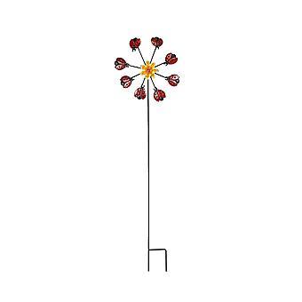 Metallbuggar Blomma Kinetic Wind Spinner Garden Stake Utomhus Gård Dekor Lawn Art
