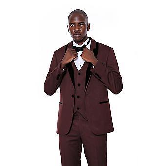Patterned velvet lapel burgundy groom suit
