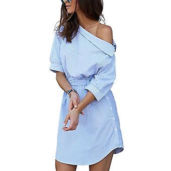 Sundress Blå stribet Mini Sexy Half Sleeve Beach Kjoler