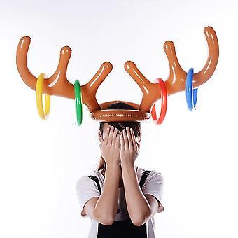 Gonflabile Santa Ren Antler Hat Ring Arunca Crăciun petrecere de vacanță joc