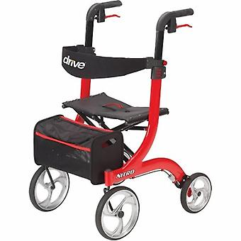 Drive Medical 4 Wheel Rollator drive Nitro Red Adjustable Height Aluminum Frame, Red 1 Each