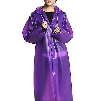 Regnrock Eva Rain Poncho för kvinnor och män, återanvändbar regnrock (lila)