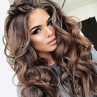 Fashion Lady's Wig Brown Big Wave Long Curly Hair Pode Ser Perm Dyed Design Penteado (Marrom)