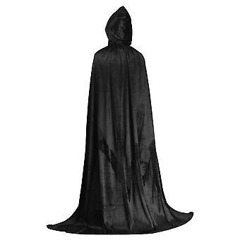 Allthemen Halloween Cosplay Costume Grim Reaper Hooded Black Cloak Adapté pour les adultes et les enfants